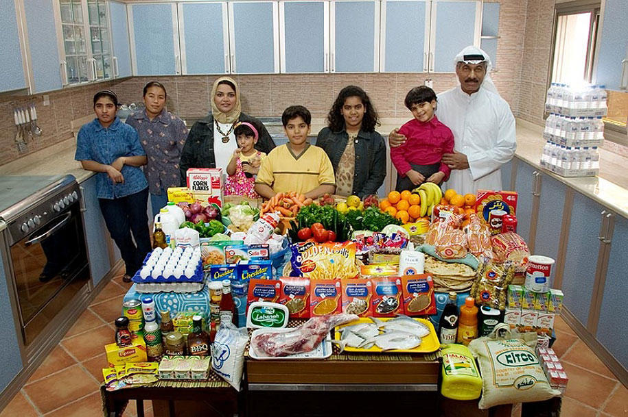 Kuwait, Kuwait City: The Al-Haggan family spends around $252 per week.