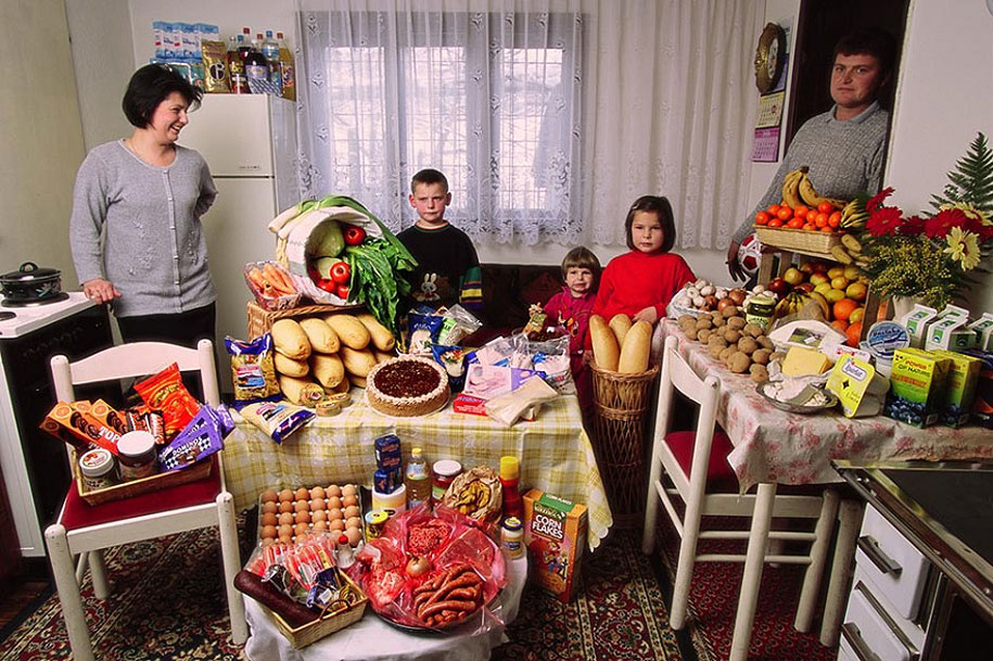 Bosnia and Herzegovina, Sarajevo: The Dudo family spends around $90 per week.