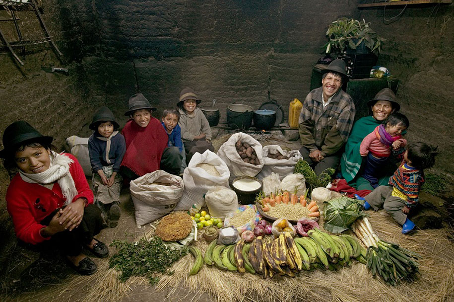 Ecuador, Tingo: The Ayme family spends around $32 per week.