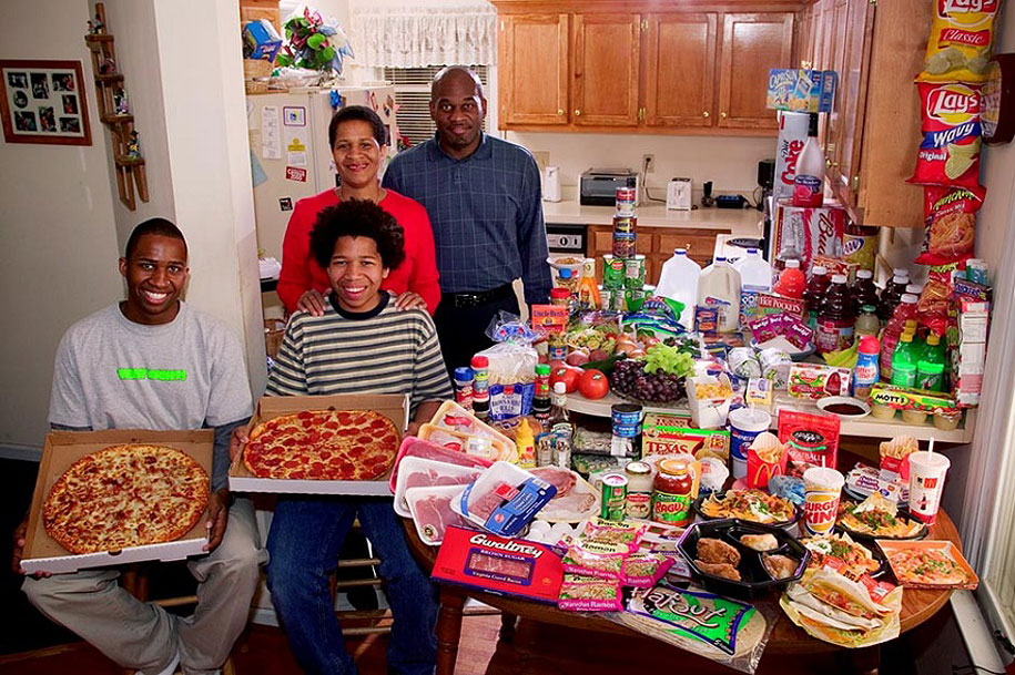 USA, North Carolina: The Revis family spends around $342 per week.