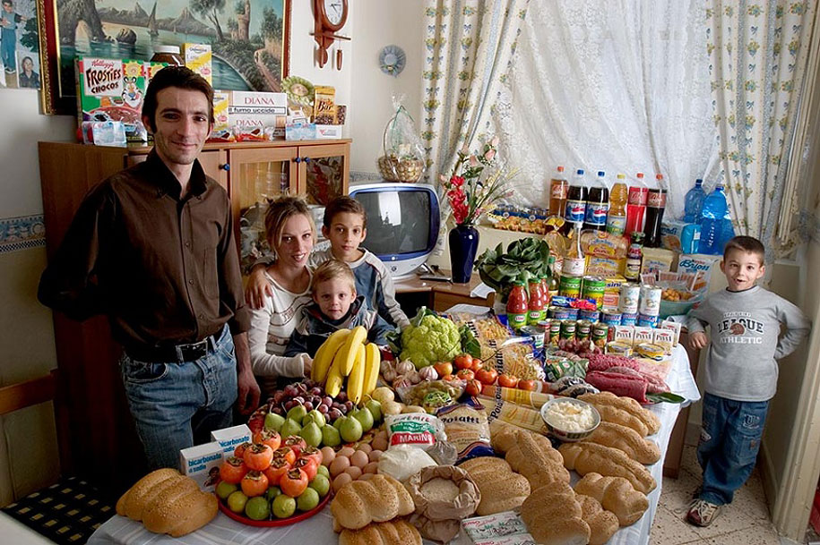 Italy, Palermo: The Manzo family spends around $295 per week.